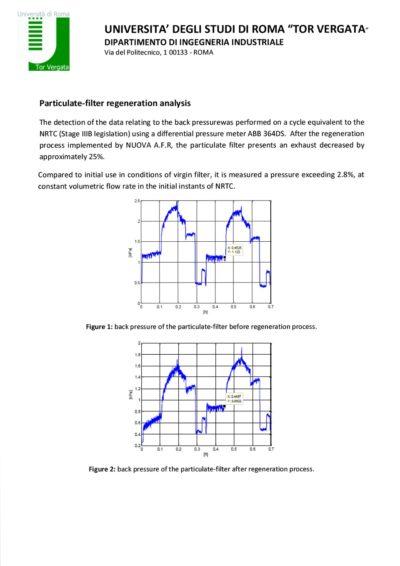 Analýza zpětného tlaku filtru pevných částic po regeneraci FCM zařízením.
